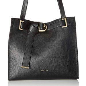 Calvin Klein Nola belted novelty tote, black